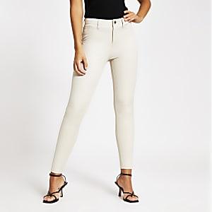 Crèmekleurige Molly broek met halfhoge taille