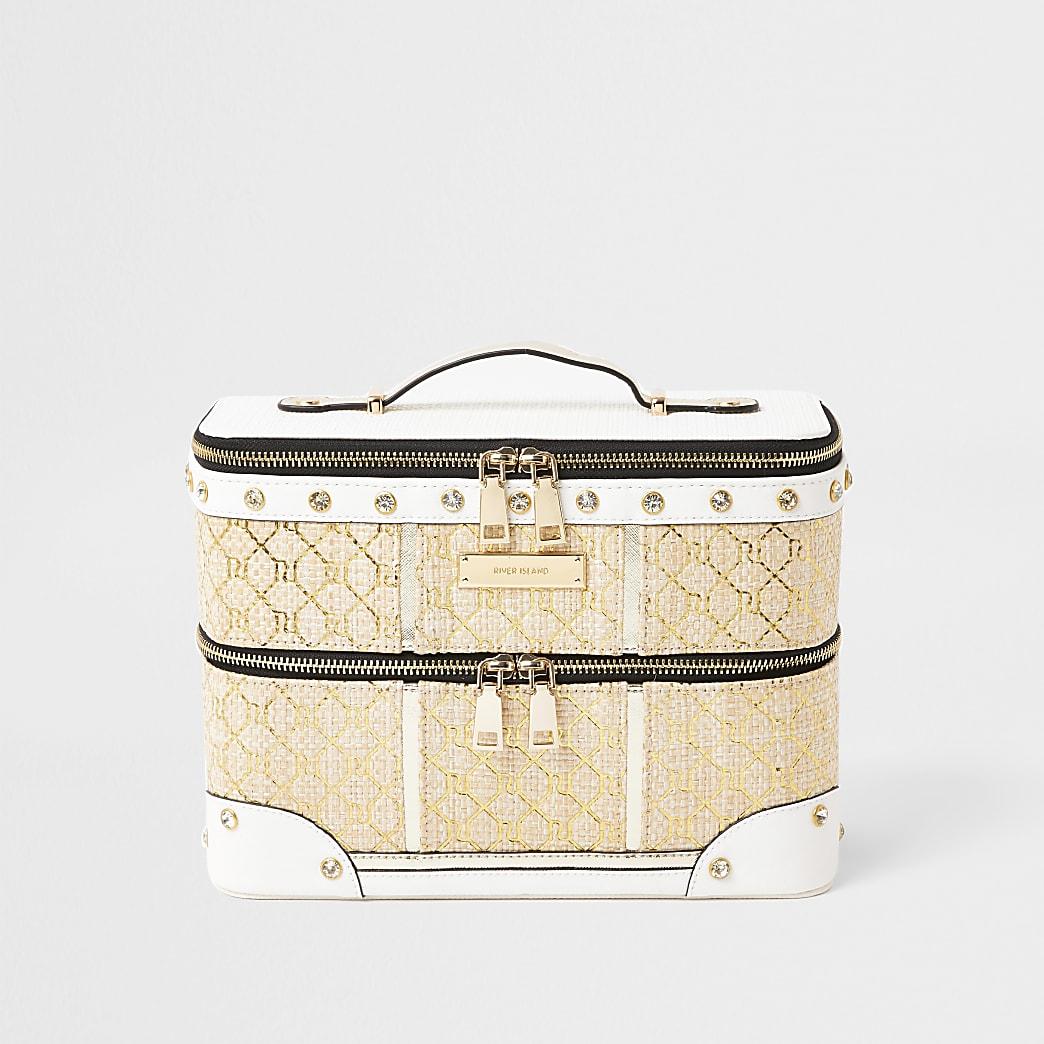Cream monogram weave vanity case