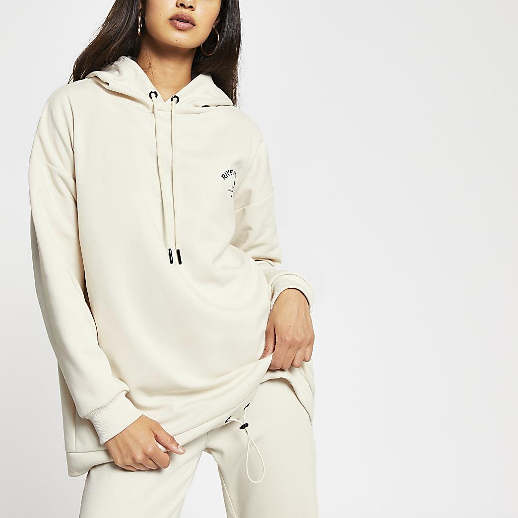 Cream neoprene long sleeve hoodie