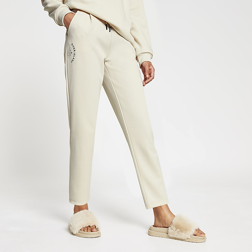 Cream neoprene tie waist jogger