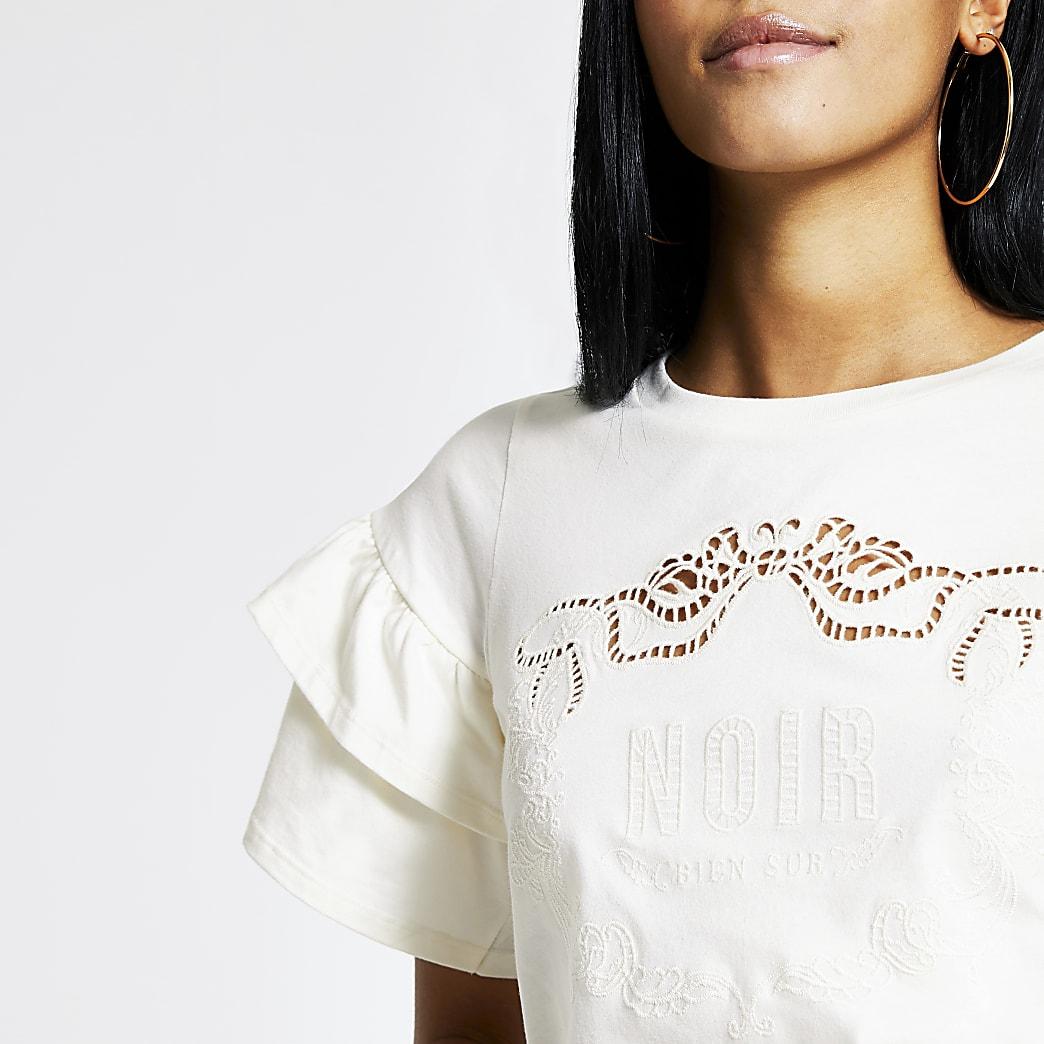 Cream 'Noir' broderie frill sleeve T-shirt