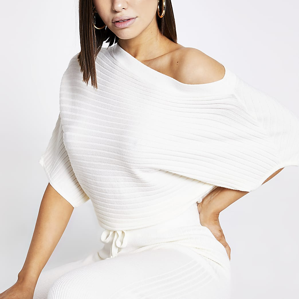 Cream off the shoulder rib knitted jumper