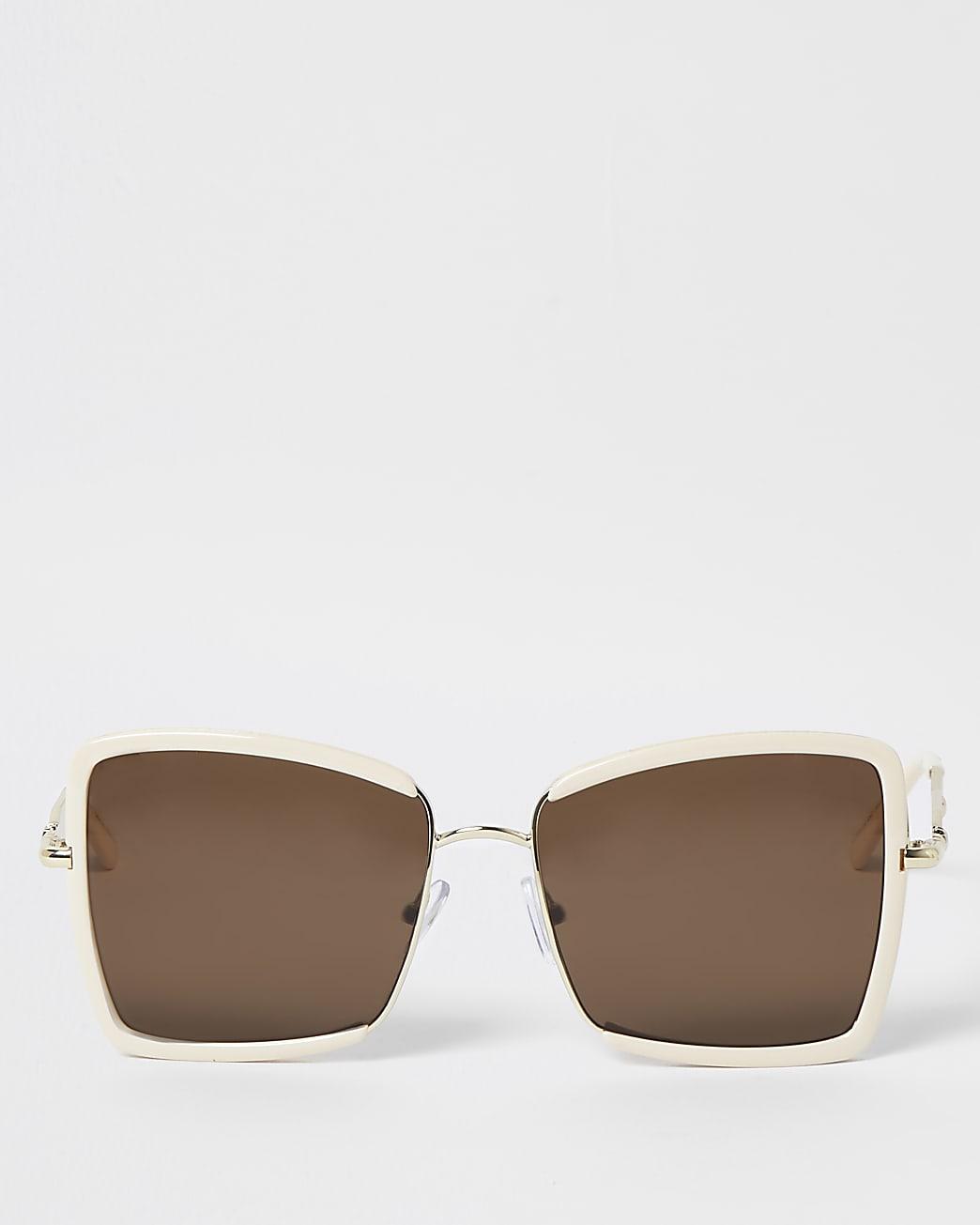 Cream oversized sunglasses