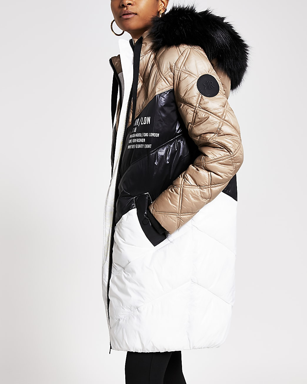 Cream padded faux fur quilted coat