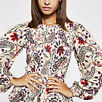 Cream paisley diamante shirred top
