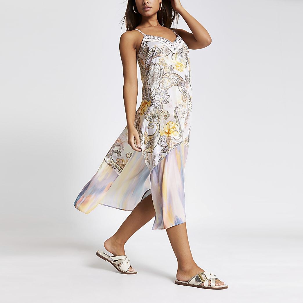 Cream paisley embellish beach slip midi dress