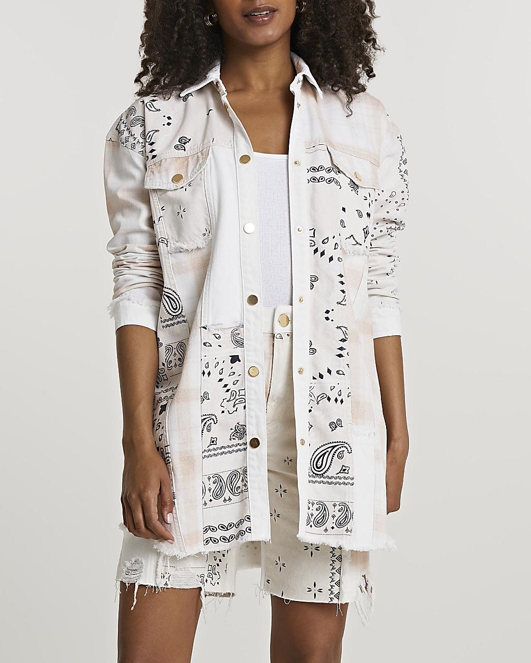 Cream paisley print shirt