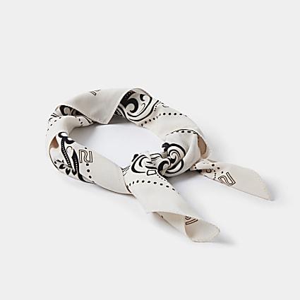 Cream paisley print square scarf