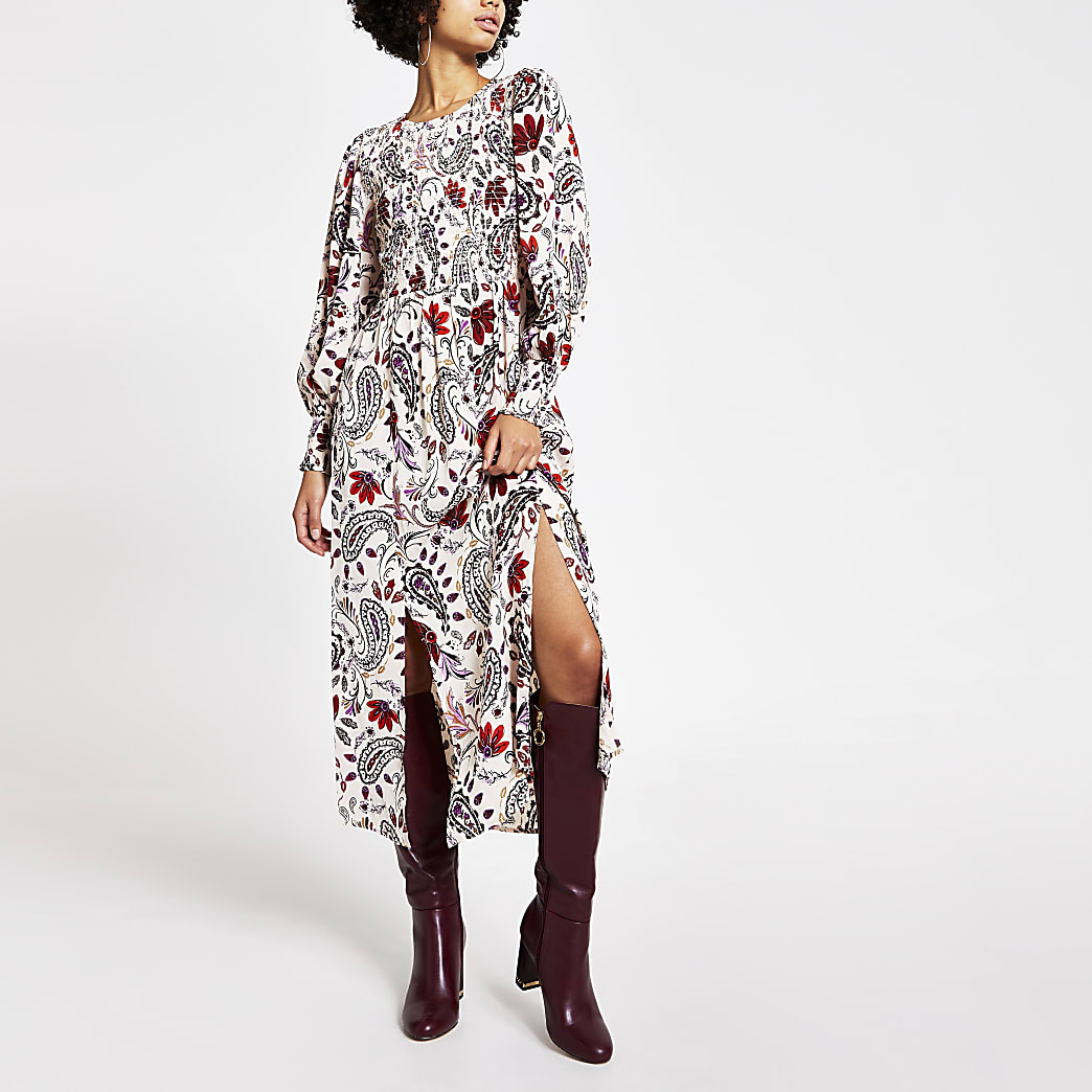 Cream paisley shirred long sleeve midi dress