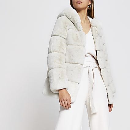 Cream Panelled Hooded Fur Coat