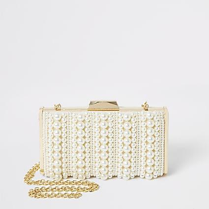 Cream pearl embellished box clutch handbag