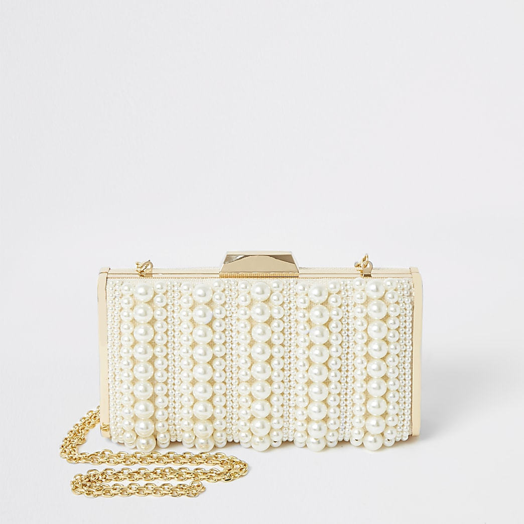 Cream pearl embellished box clutch handbag