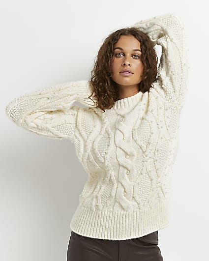 Cream pearl embellished cable knit jumper