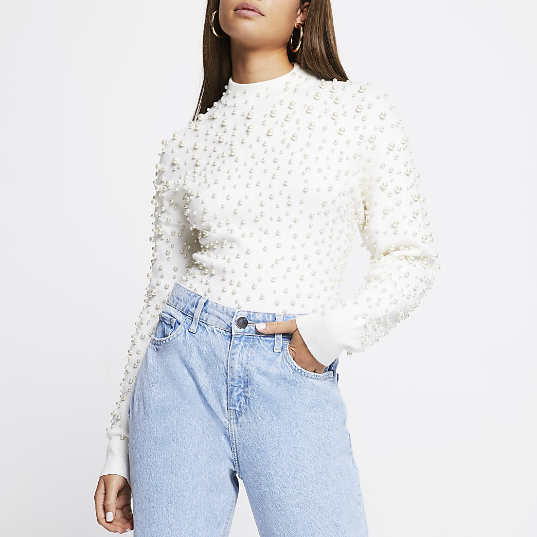 Cream pearl embellished jumper
