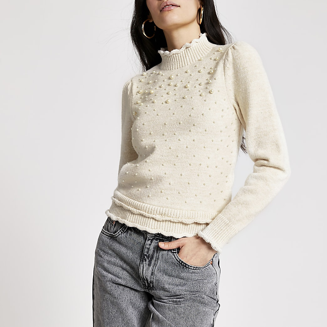 Cream pearl embellished puff sleeve jumper