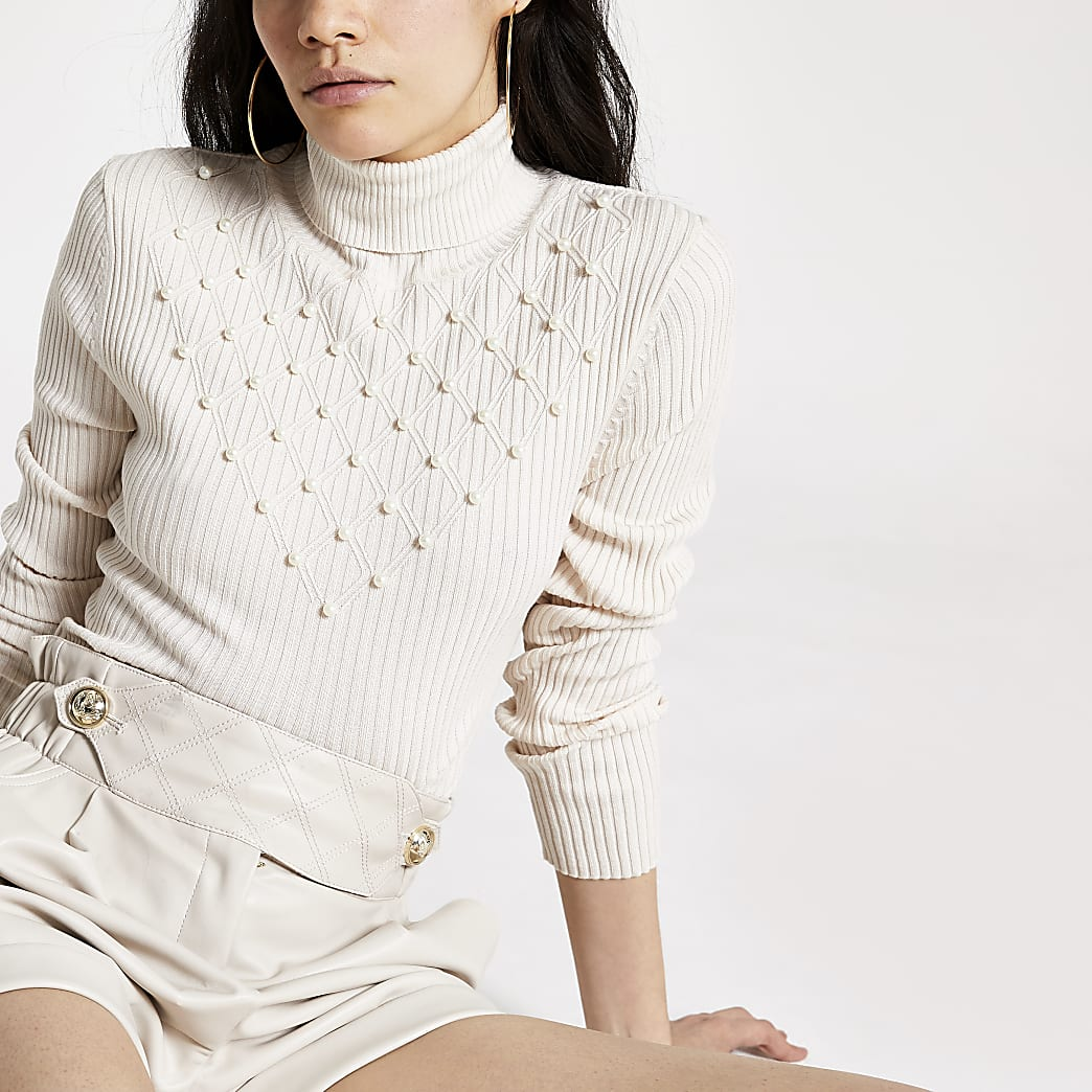 Cream pearl roll neck knitted jumper