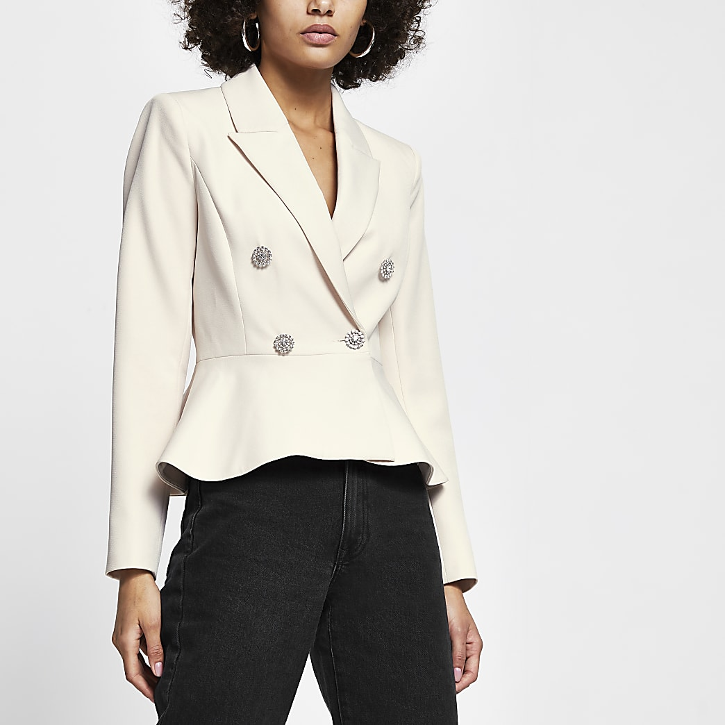 Cream peplum diamante button blazer