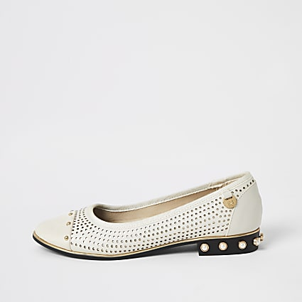 Cream perforated studded ballet shoes WF