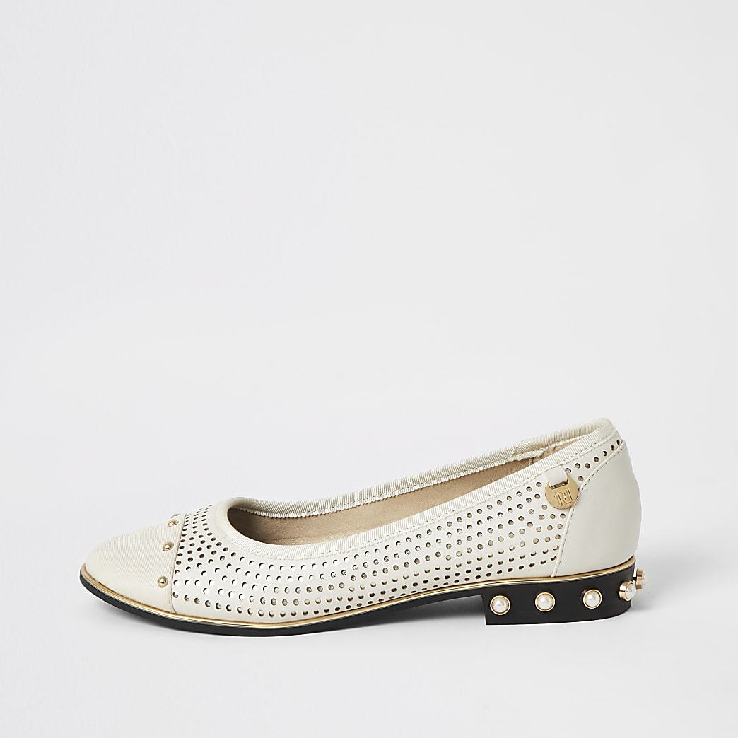Cream perforated studded ballet shoes