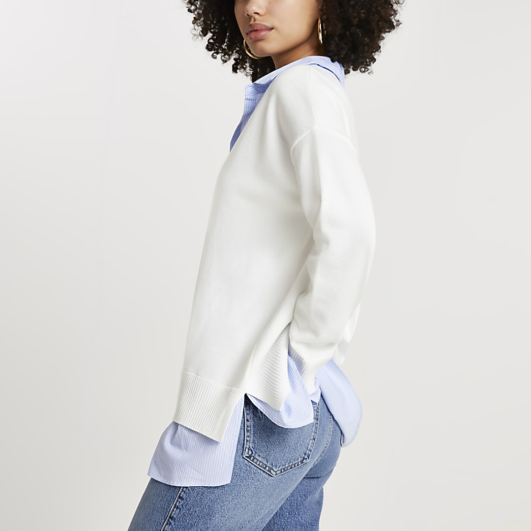 Cream pinstripe hybrid shirt jumper