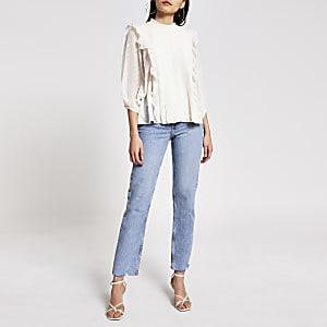 Crèmekleurige geplooide blouse met ruches en lange mouwen