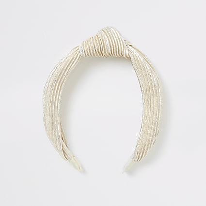 Cream plisse alice band
