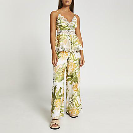 Cream plunge floral peplum beach jumpsuit