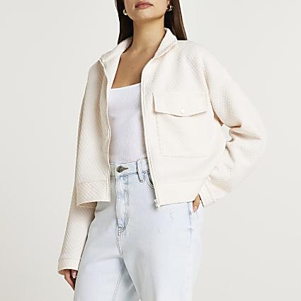 Cream pocket zip front shacket