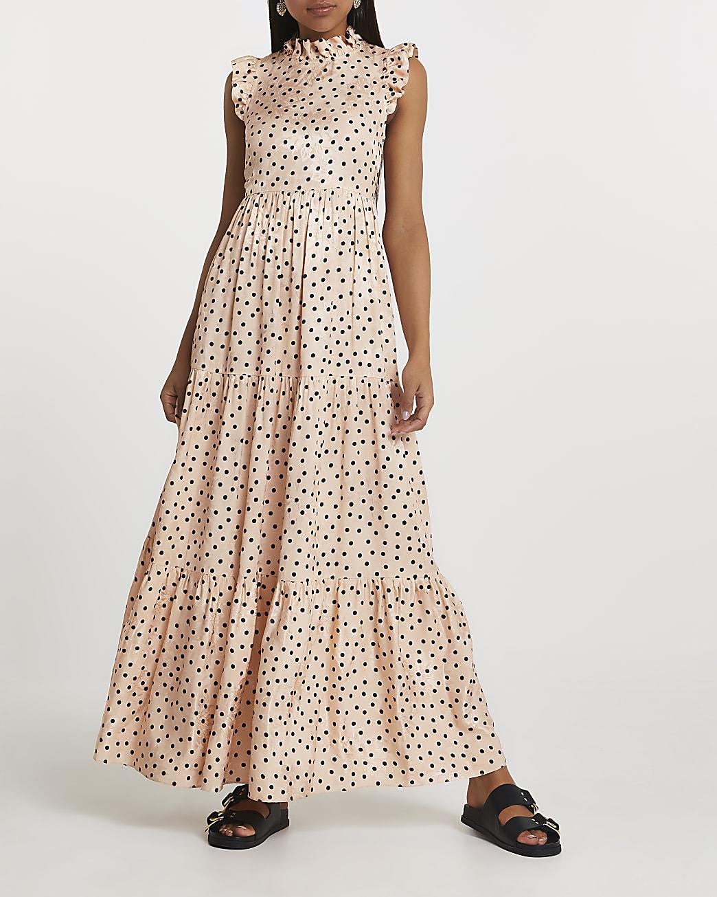 Cream polka dot maxi dress