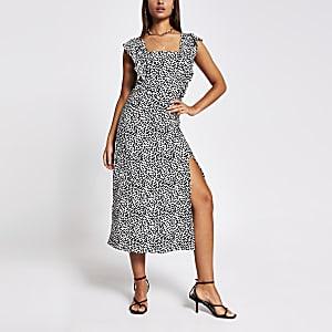 Cream printed frill sleeve midi dress