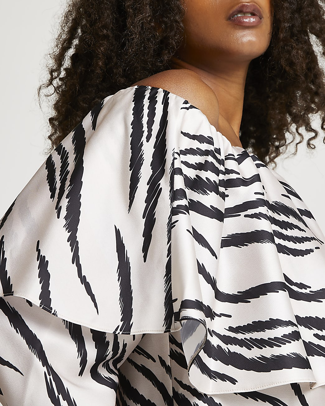 Cream printed long sleeve frill bardot top