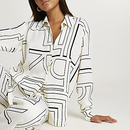 Cream printed long sleeve shirt