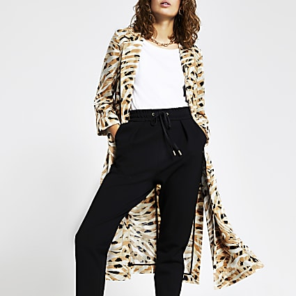 Cream printed long turn up cuff duster jacket