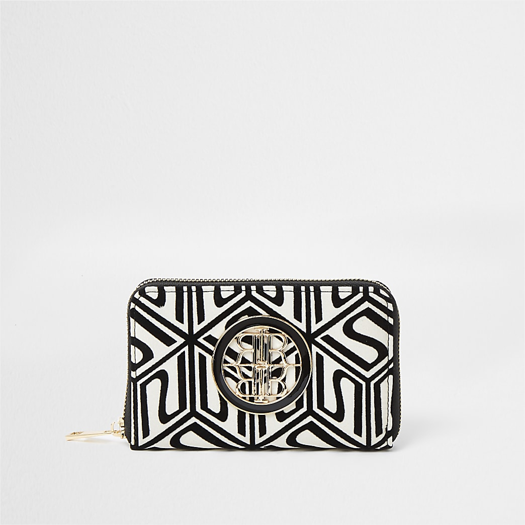 Cream printed RI zip purse