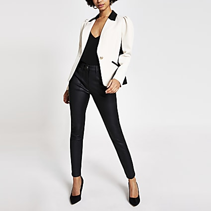 Cream PU blocked puff sleeve blazer