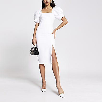 Cream puff sleeve bodycon midi dress