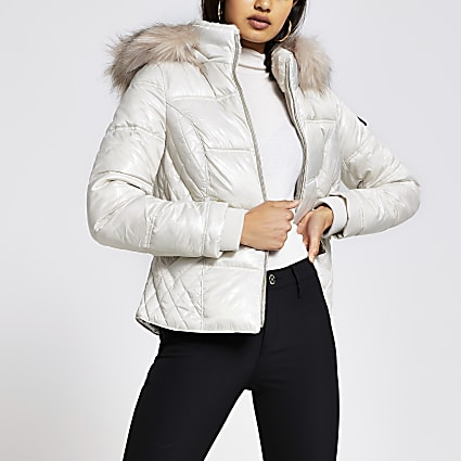 Cream quilted belted padded jacket