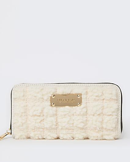 Cream quilted borg purse