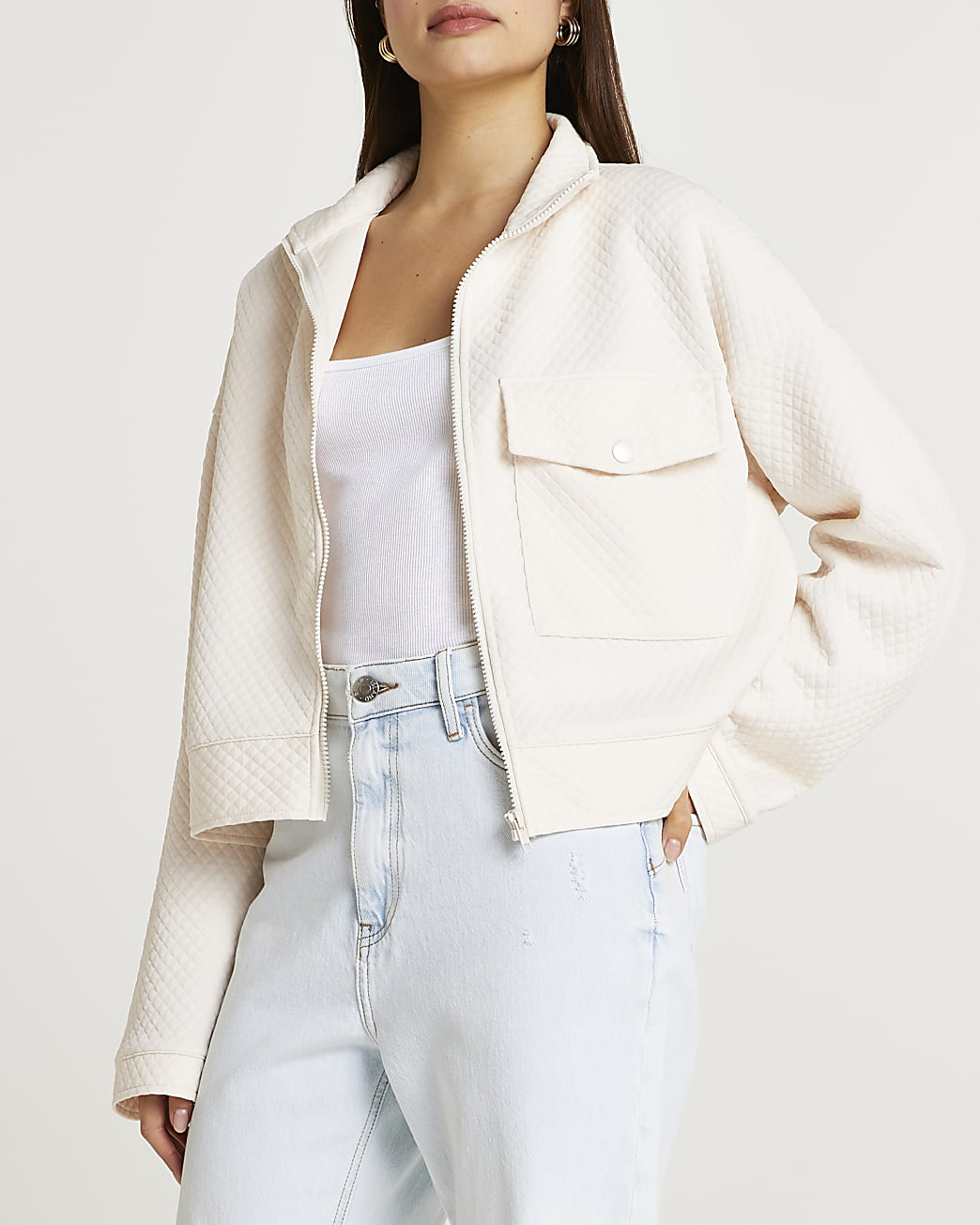 Cream quilted cropped jacket