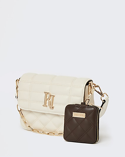 Cream quilted cross body bag