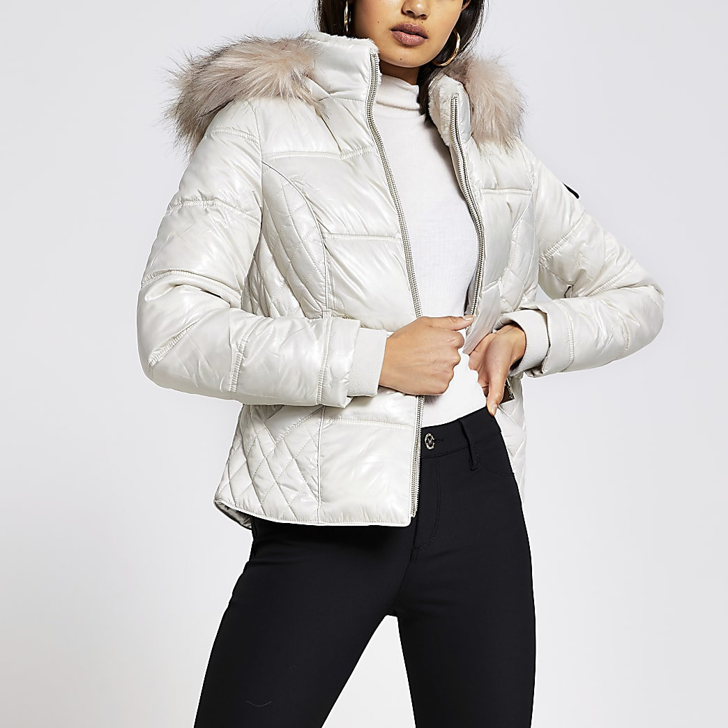 Cream quilted double zip padded coat