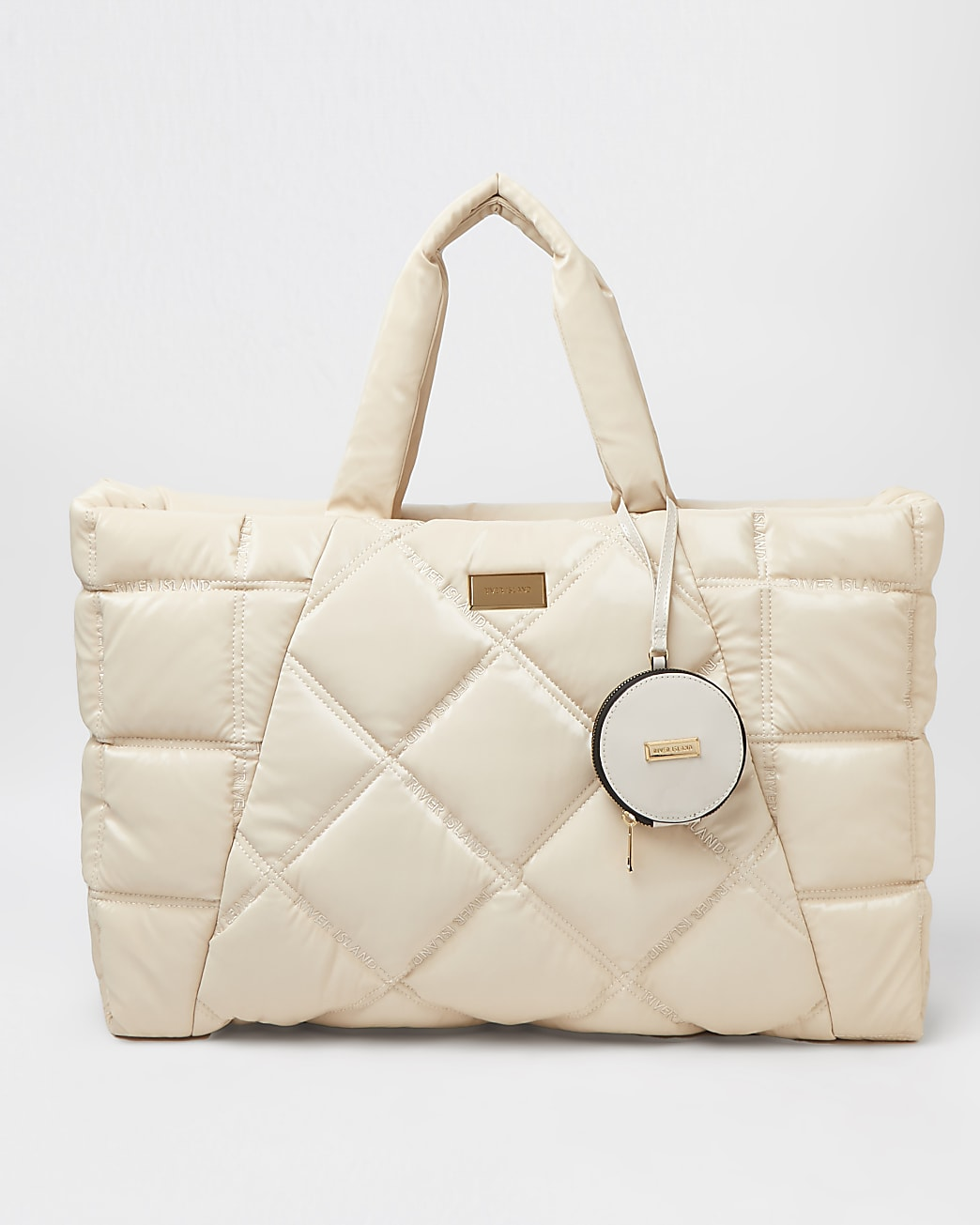 Cream quilted shopper bag