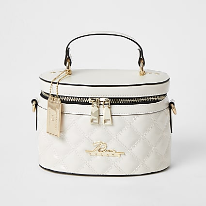 Cream quilted vanity cross body bag