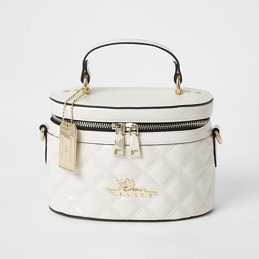 Cream quilted vanity cross body bag