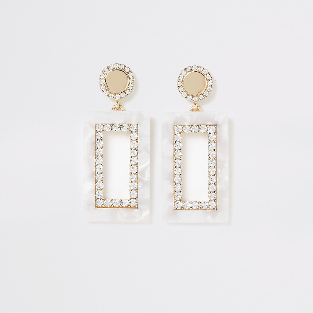 Cream rectangle dandle earrings