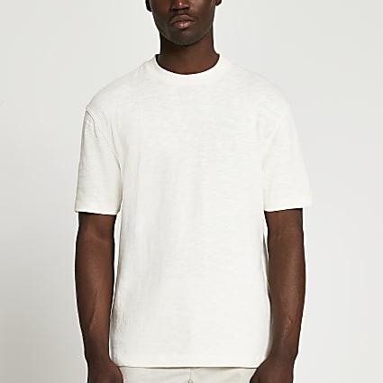 Cream regular fit cotton short sleeve t-shirt