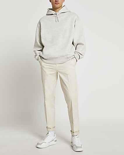 Cream relaxed fit chino trousers