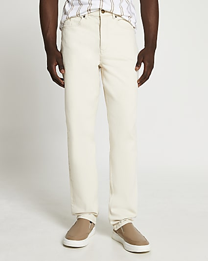 Cream relaxed fit jeans