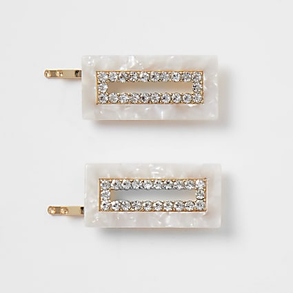 Cream resin rectangle hair clips 2 pack