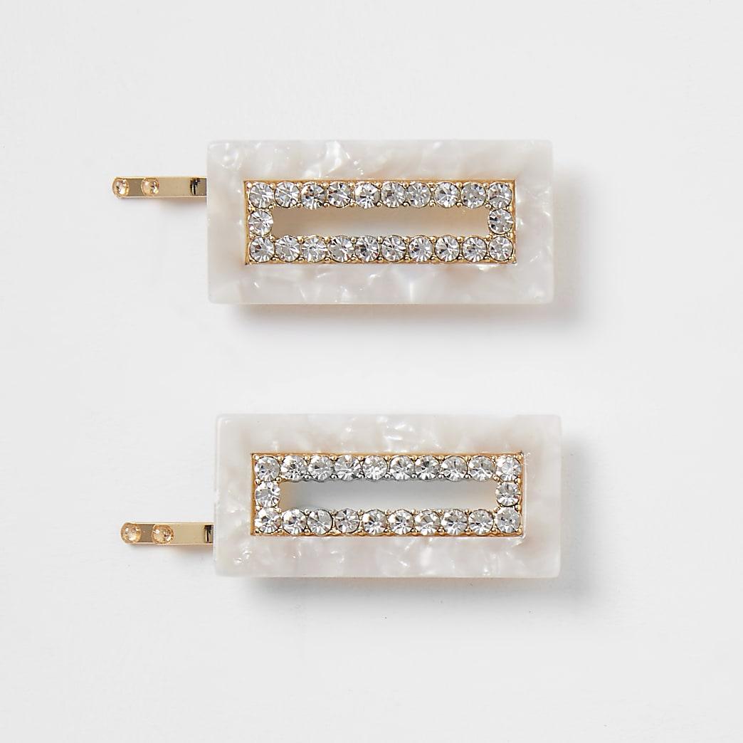 Cream resin rectangle hair clips 2 pack